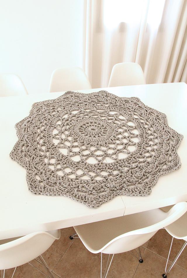 Giant crocheted doily