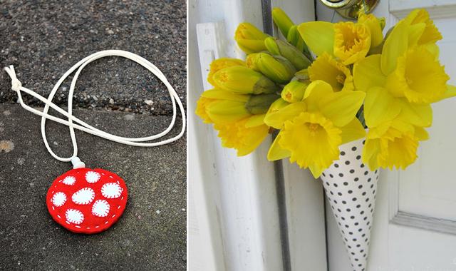 Felt mushroom pendant,door bouquet