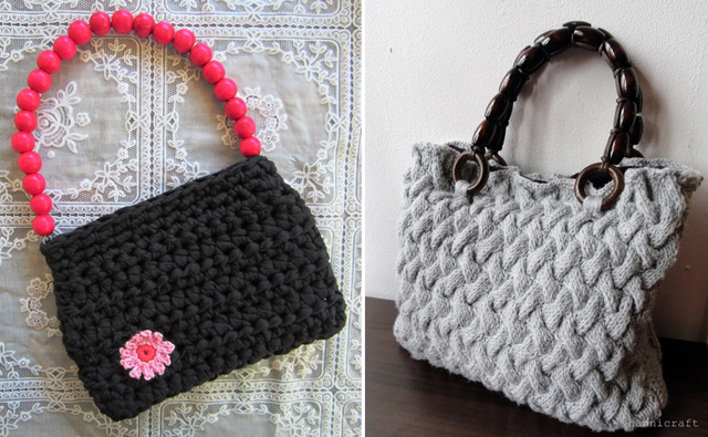 Basketweave knit purse,crochet evening bag
