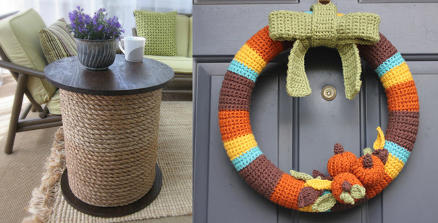 Spool table, crocheted fall wreath