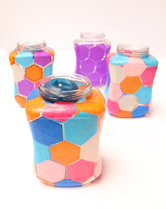 Hexigon Patterned Decoupage Candle Jars