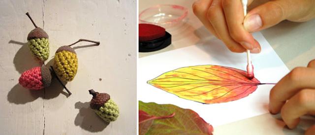 Crocheted acorns,ink fall leaf paintings