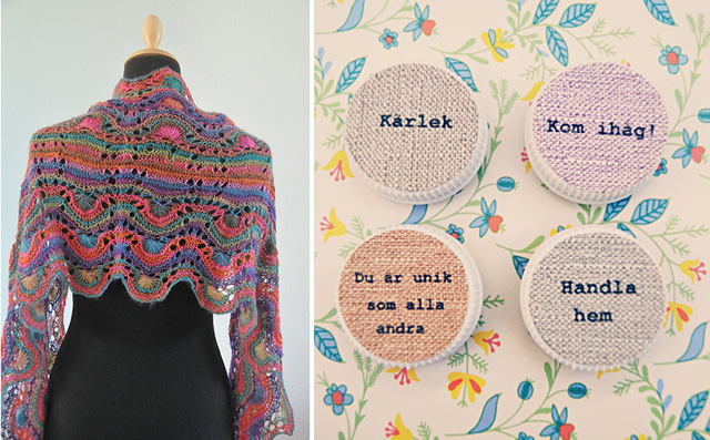 Knitted lace wrap,milk bottle cap magnets