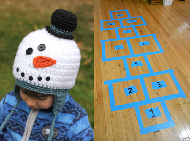 Crocheted snowman hat,tape hopskotch