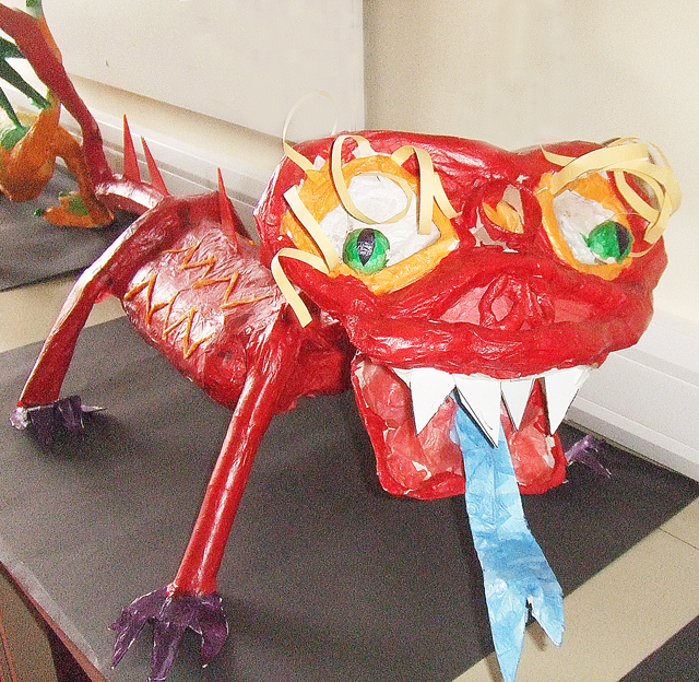 Paper Mache Dragon Red