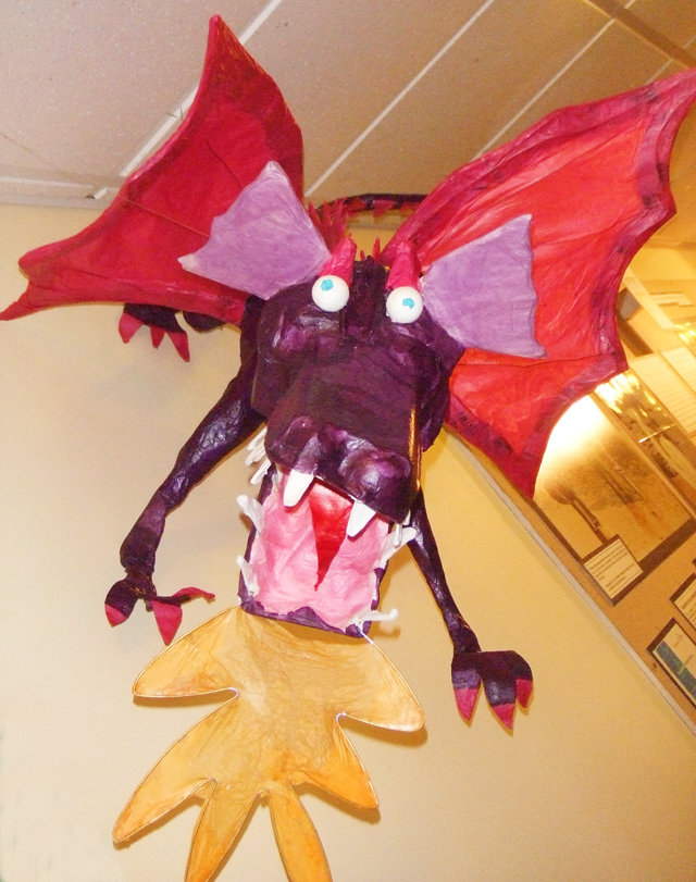 Paper Mache dragon purple