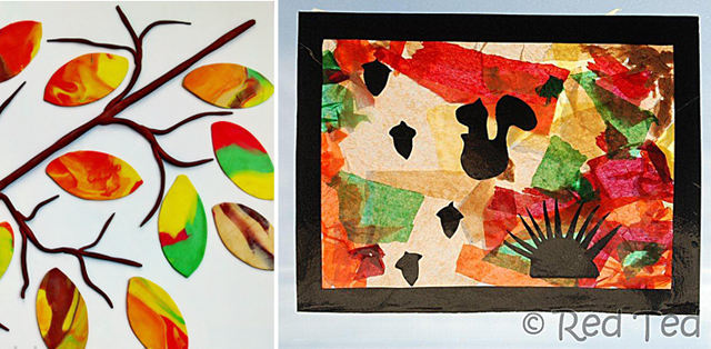 Modeling clay fall leaves,fall window catcher craft