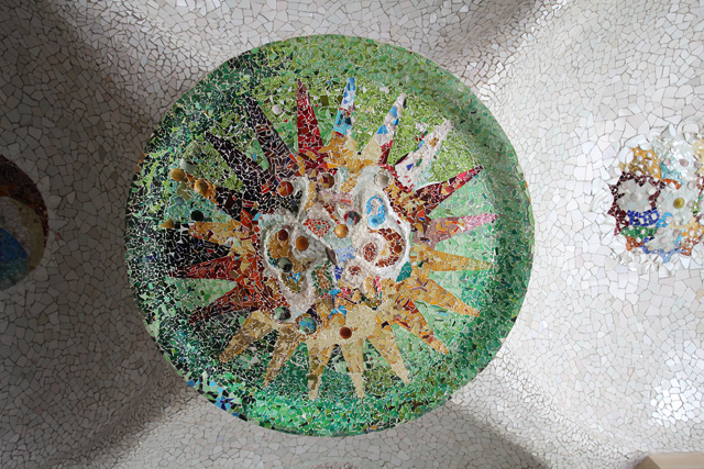 Barcelona Park Guell ceiling mosaic