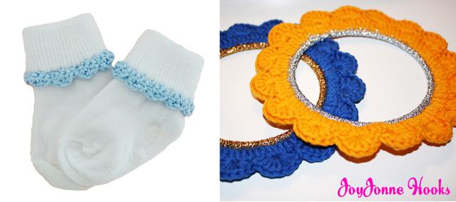 Crocheted sock trim,crocheted frames