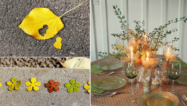 Fall leaf punched,glitter plate DIY