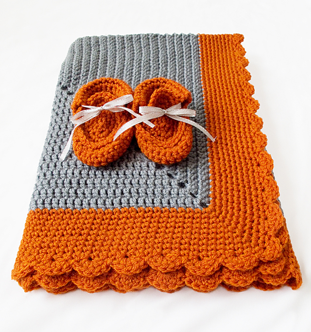 Crocheted Starburst BabyBlanket Folded