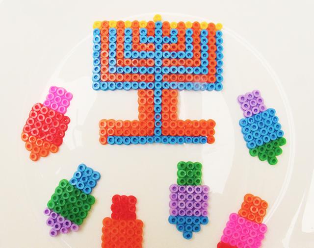 Hanukkah Hama Bead ornaments close up