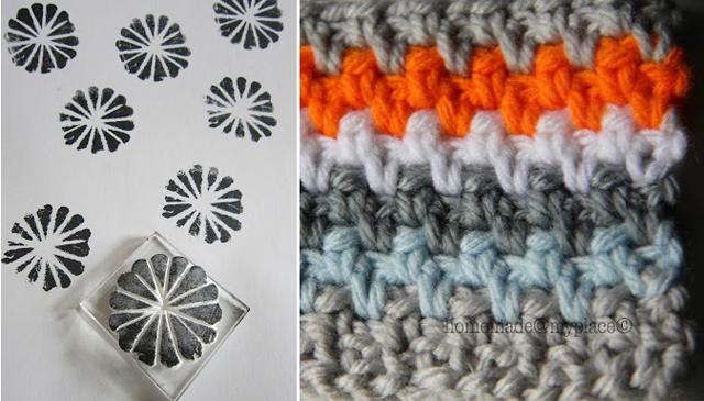 Styrofoam stamps, crochet stitch
