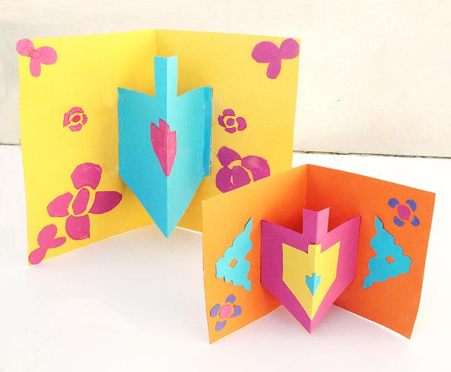 3d Craft Ideas For Kids Part - 20: Hanukkah Card With 3D Dreidel