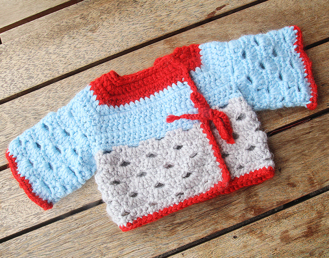 Crocheted Scallop Stitch Baby Sweater