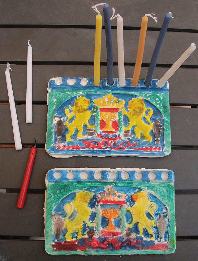 Hanukkah plaster of paris menorah
