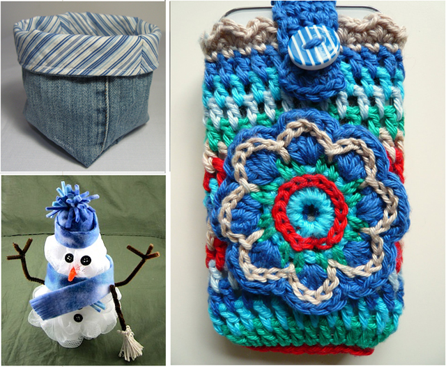 Crocheted cell phone case,bath pouf snowman