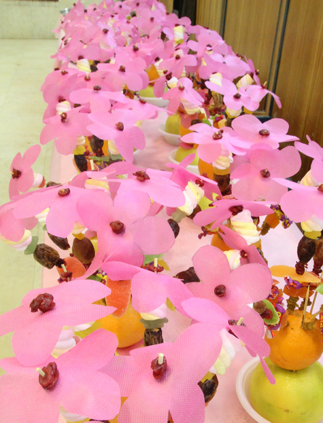 Fruit Skewer Centerpieces lined up for tu B'shevat