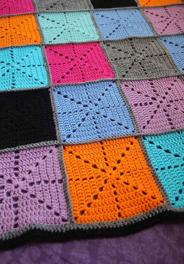 Simple Crochet Filet Starburst Patchwork Blanket