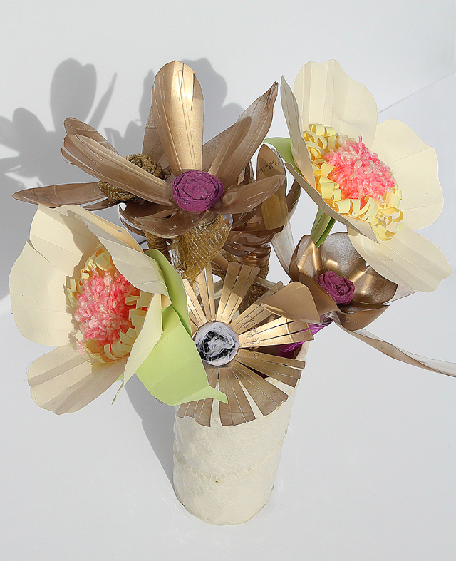 Recycled Plastic Bottle Flower Bouquet With paper poppies