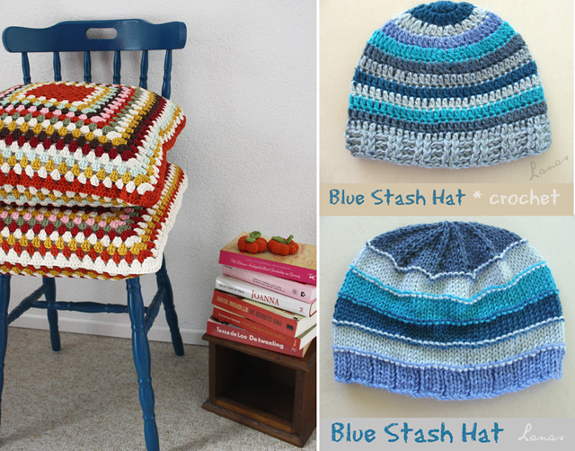 Granny square pillows,stashbuster striped crochet hat
