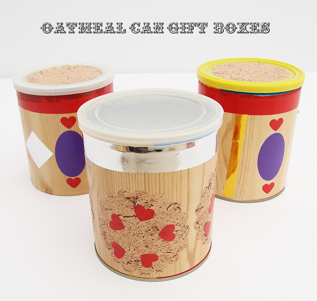 Oatmeal can gift boxes with type
