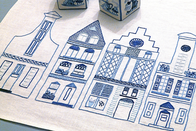 Embroidery Dutch Row houses finished