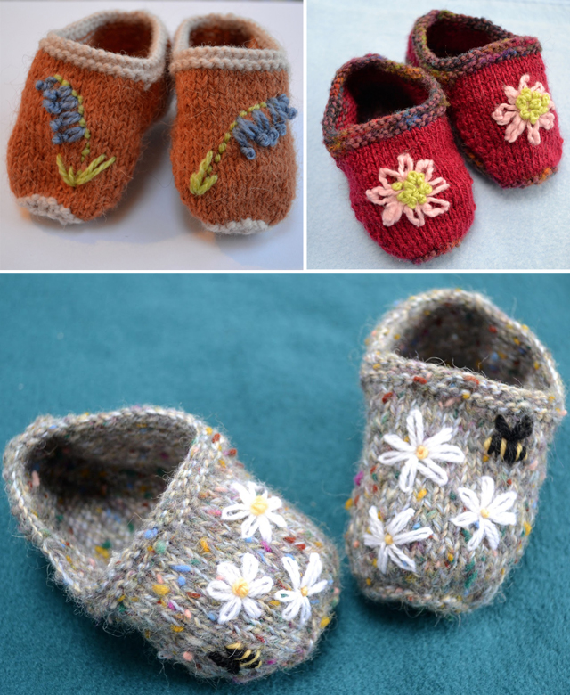Embroidered knit baby booties