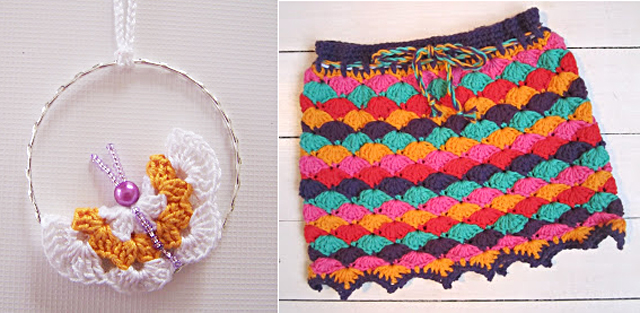 Crocheted shell stitch skirt,crocheted butterfly