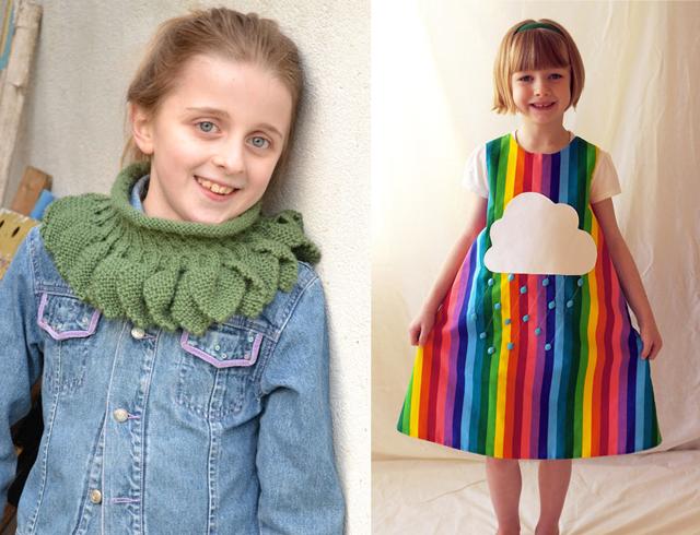 Knit leaves cowl, rainbow dress