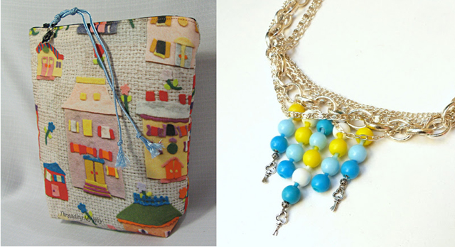 Pop bead necklace,whimsical zipper pouch