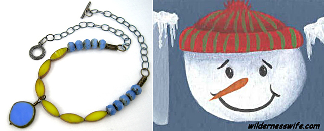 Snowman painting tutorial,necklace