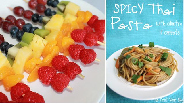 Spicy thai pasta,rainbow fruit skewers