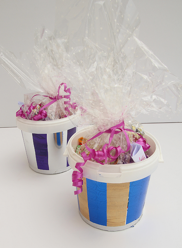 Gift Packaging Using Recycled Yogurt Tubs