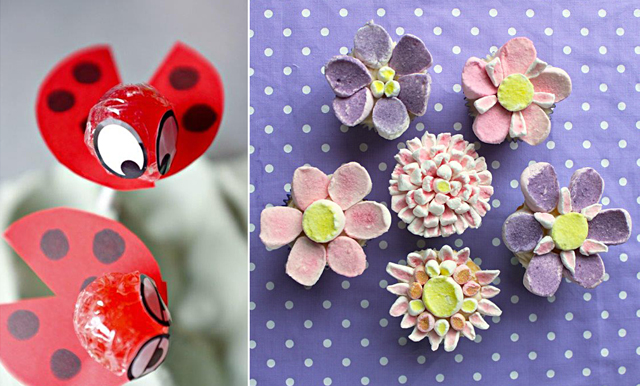 Flower marshmellow, ladybird lollipops