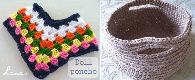 Doll poncho,crocheted basket