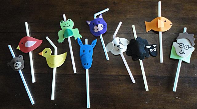 Craft foam straw puppets