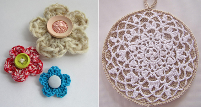 Crocheted flowers,doily potholder