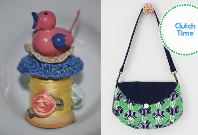 Birdy spool craft,sewn clutch purse
