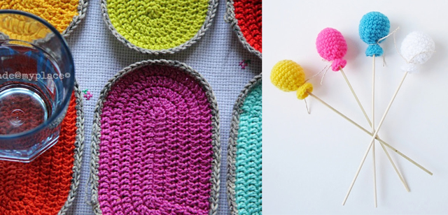 Crocheted coasters,crocheted balloons on sticks