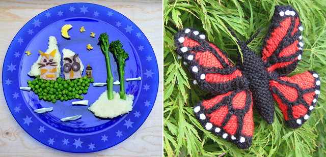 Knitted butterfly,storybook meal