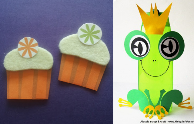 Recycled shampoo bottle frog,cupcake magnets