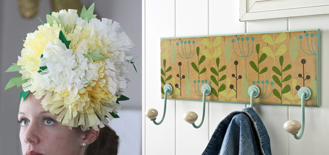 Coffee filter fascinator,mod podge coat rack