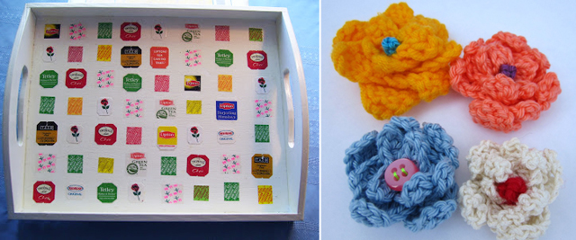 Tea bag tab decoupage,crocheted flowers