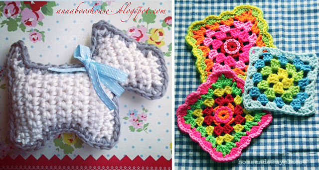Crocheted scottie dog pattern,granny square fun