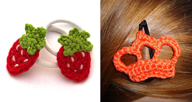 Crocheted hair clips, strawberries and a crown
