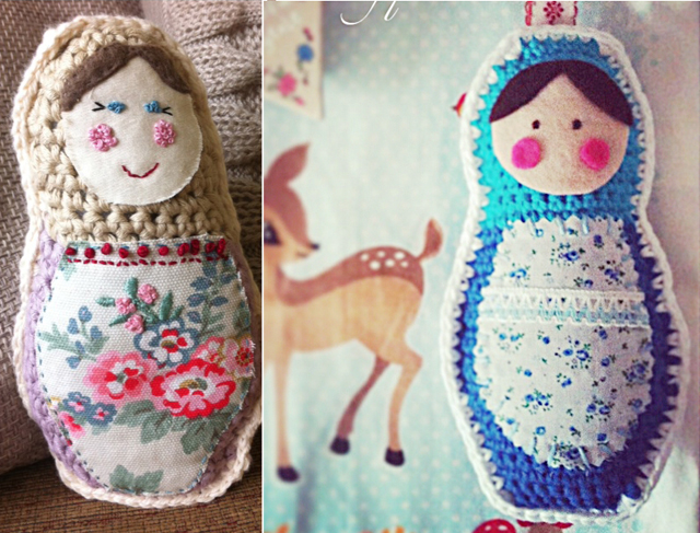 Crocheted matroyshka dolls