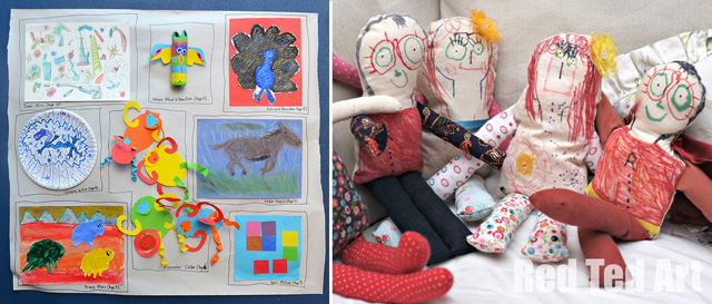 Art gallery of kid's art,drawn and sewn dolls