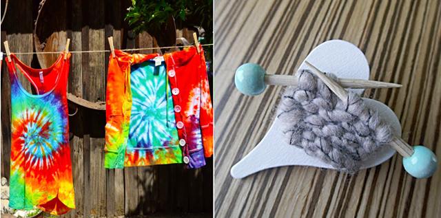 Knitter's brooch,fab spiral tie dye