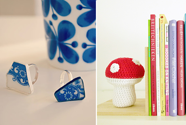 Broken pottery ring, crocheted mushroom bookend